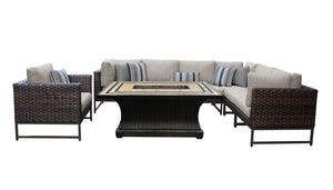Barcelona 8 Piece Outdoor Wicker Patio Furniture Set 08f