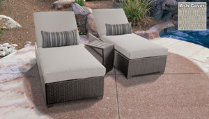 Belle Chaise Set of 2 Outdoor Wicker Patio Furniture With Side Table