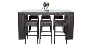 Belle Bar Table Set With Backless Barstools 7 Piece Outdoor Wicker Patio Furniture