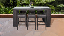 Load image into Gallery viewer, Belle Bar Table Set With Backless Barstools 7 Piece Outdoor Wicker Patio Furniture