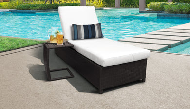 Belle Wheeled Chaise Outdoor Wicker Patio Furniture and Side Table