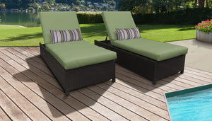 Belle Wheeled Chaise Set of 2 Outdoor Wicker Patio Furniture
