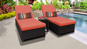 Belle Wheeled Chaise Set of 2 Outdoor Wicker Patio Furniture and Side Table