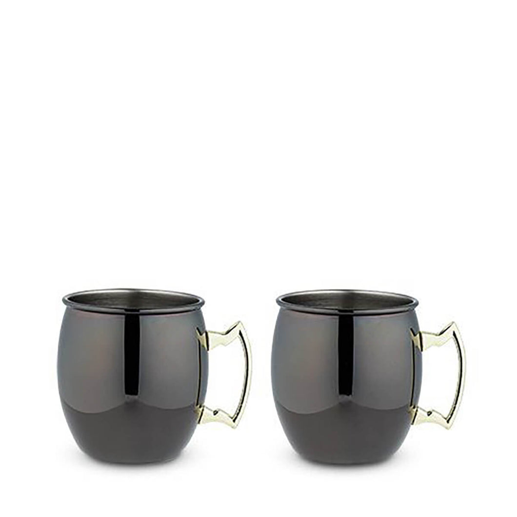 Black Moscow Mule Mug with Gold Handle - Set of 2