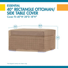Load image into Gallery viewer, Duck Covers Essential Water Resistant 40 Inch Rectangular Ottoman Side Table Cover