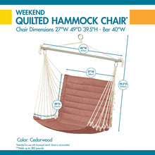 Load image into Gallery viewer, Weekend 27 Inch Quilted Hammock Chair, Cedarwood