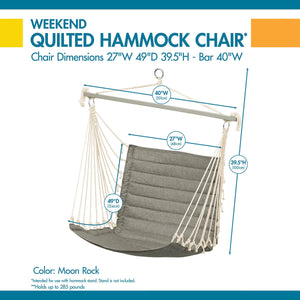 Weekend 27 Inch Quilted Hammock Chair, Moon Rock