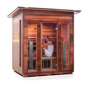 Enlighten RUSTIC - 4 Person Slope Full Spectrum Infrared Sauna - Kaso Saunas