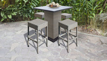 Load image into Gallery viewer, Florence Pub Table Set With Backless Barstools 5 Piece Outdoor Wicker Patio Furniture