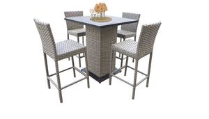 Florence Pub Table Set With Barstools 5 Piece Outdoor Wicker Patio Furniture