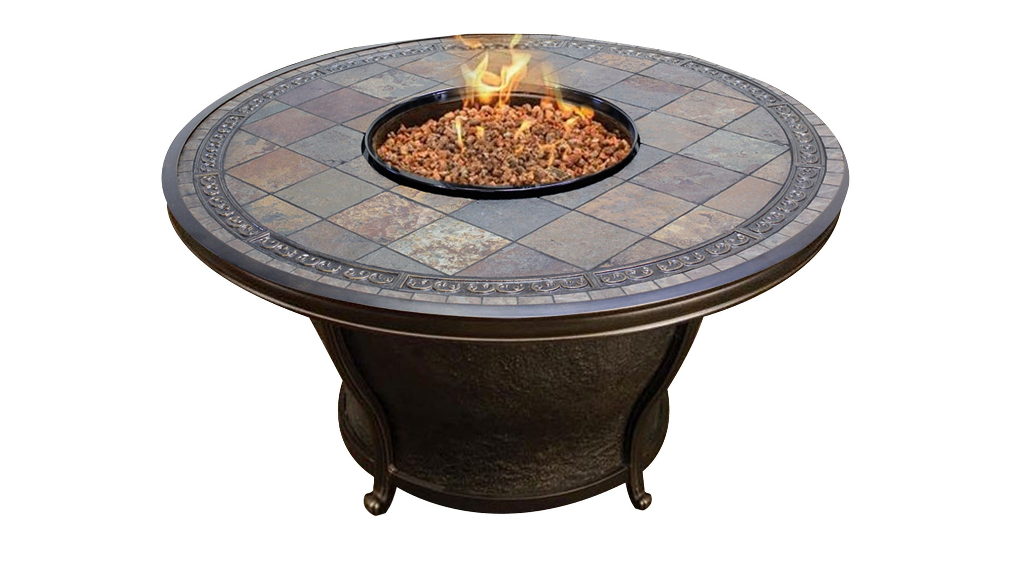 Tempe 48 inch Round Slate Top Fire Pit