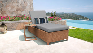 Laguna Wheeled Chaise Outdoor Wicker Patio Furniture and Side Table