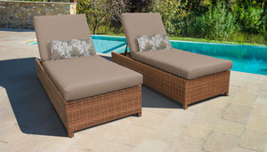 Laguna Wheeled Chaise Set of 2 Outdoor Wicker Patio Furniture