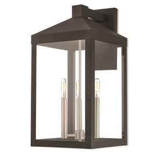 Nyack 21 Inch Tall 3 Light Outdoor Wall Light by Livex Lighting