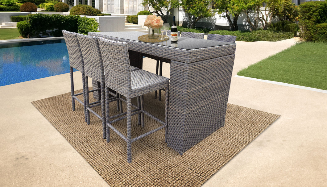 Monterey Bar Table Set With Barstools 7 Piece Outdoor Wicker Patio Furniture