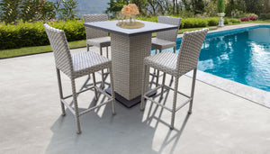 Monterey Pub Table Set With Barstools 5 Piece Outdoor Wicker Patio Furniture