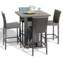 Load image into Gallery viewer, Napa Pub Table Set With Barstools 5 Piece Outdoor Wicker Patio Furniture