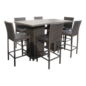Napa Pub Table Set With Barstools 8 Piece Outdoor Wicker Patio Furniture
