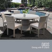 Load image into Gallery viewer, Oasis 60 Inch Outdoor Patio Dining Table with 6 Armless Chairs (No Cushions)