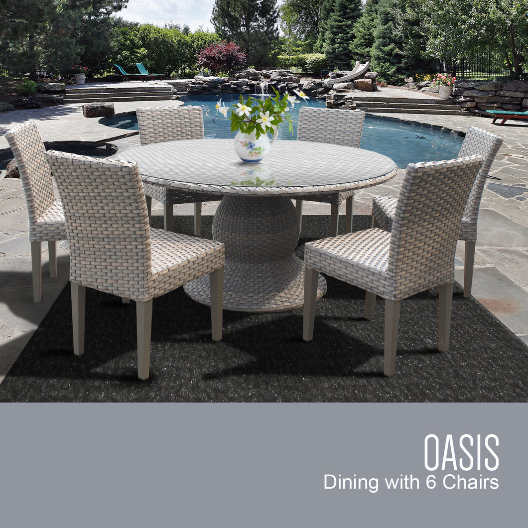 Oasis 60 Inch Outdoor Patio Dining Table with 6 Armless Chairs (No Cushions)