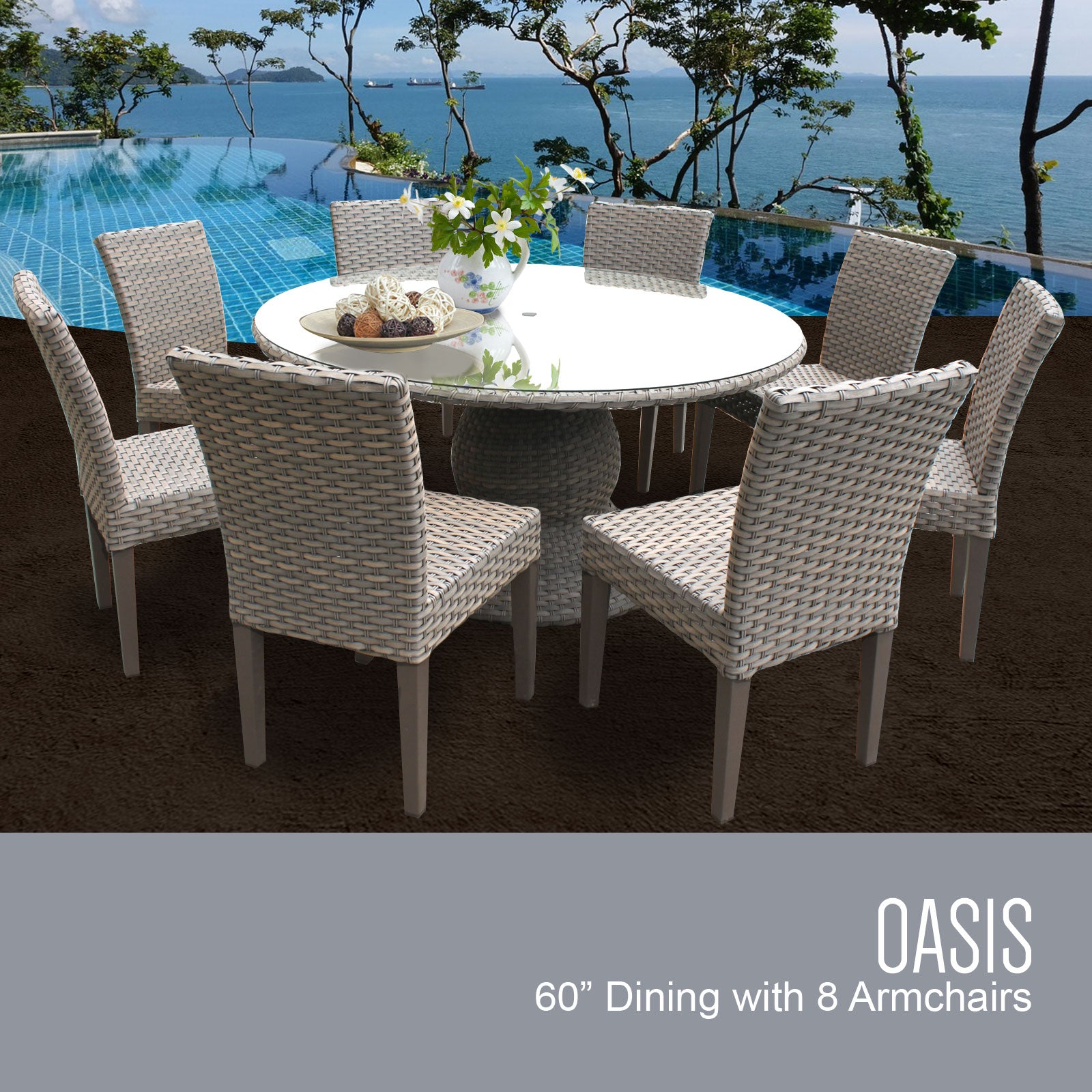 Oasis 60 Inch Outdoor Patio Dining Table with 8 Armless Chairs (No Cushions)