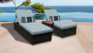 Venice Chaise Set of 2 Outdoor Wicker Patio Furniture With Side Table