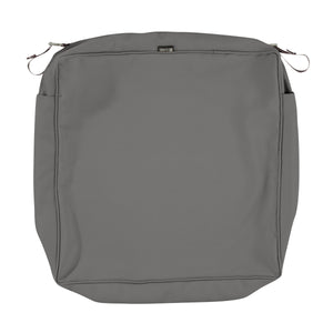 Classic Accessories Montlake Water Resistant 23 23 5 Inch Patio Seat Cushion Slip Cover Light Charcoal Grey