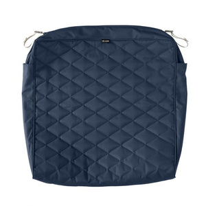 Montlake FadeSafe Water-Resistant 25 x 27 x 5 Inch Patio Quilted Seat Cushion Cover, Navy