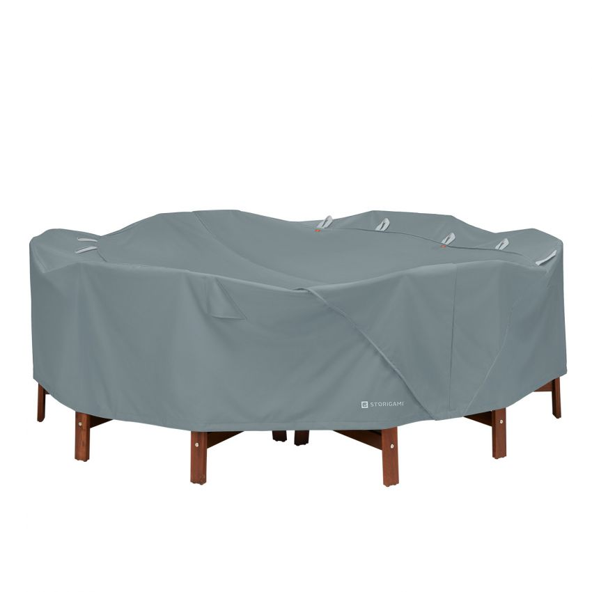 Classic-Accessories-Storigami-Water-Resistant-94-Inch-Easy-Fold-Round-Table-Chairs-Cover-Monument-Grey