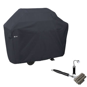 Water-Resistant 64 Inch BBQ Grill Cover with Coiled Grill Brush & Magnetic LED Light