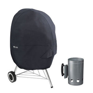Water-Resistant 26.5 Inch Kettle BBQ Grill Cover with Charcoal Chimney
