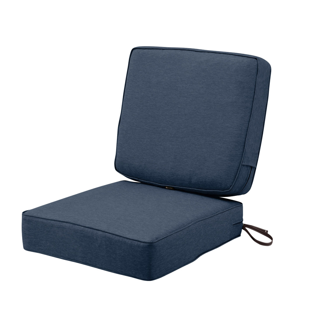 Classic Accessories Montlake Water Resistant 25 25 5 Inch Seat 25 22 4 Inch Back Patio Cushion Set Heather Indigo Blue