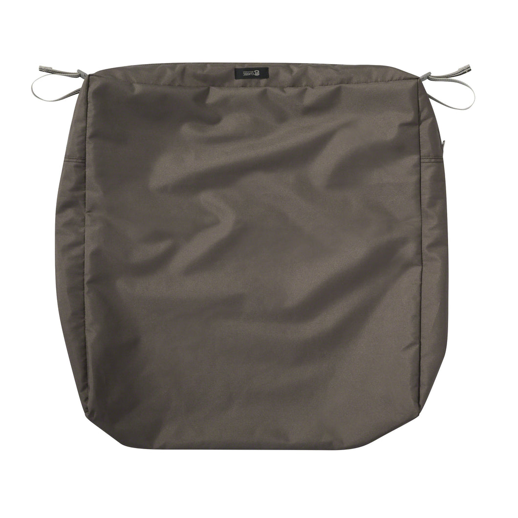 Classic Accessories Ravenna Water Resistant 25 25 5 Inch Patio Seat Cushion Slip Cover Dark Taupe