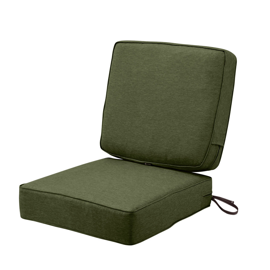 Classic Accessories Montlake Water Resistant 25 25 5 Inch Seat 25 22 4 Inch Back Patio Cushion Set Heather Fern Green