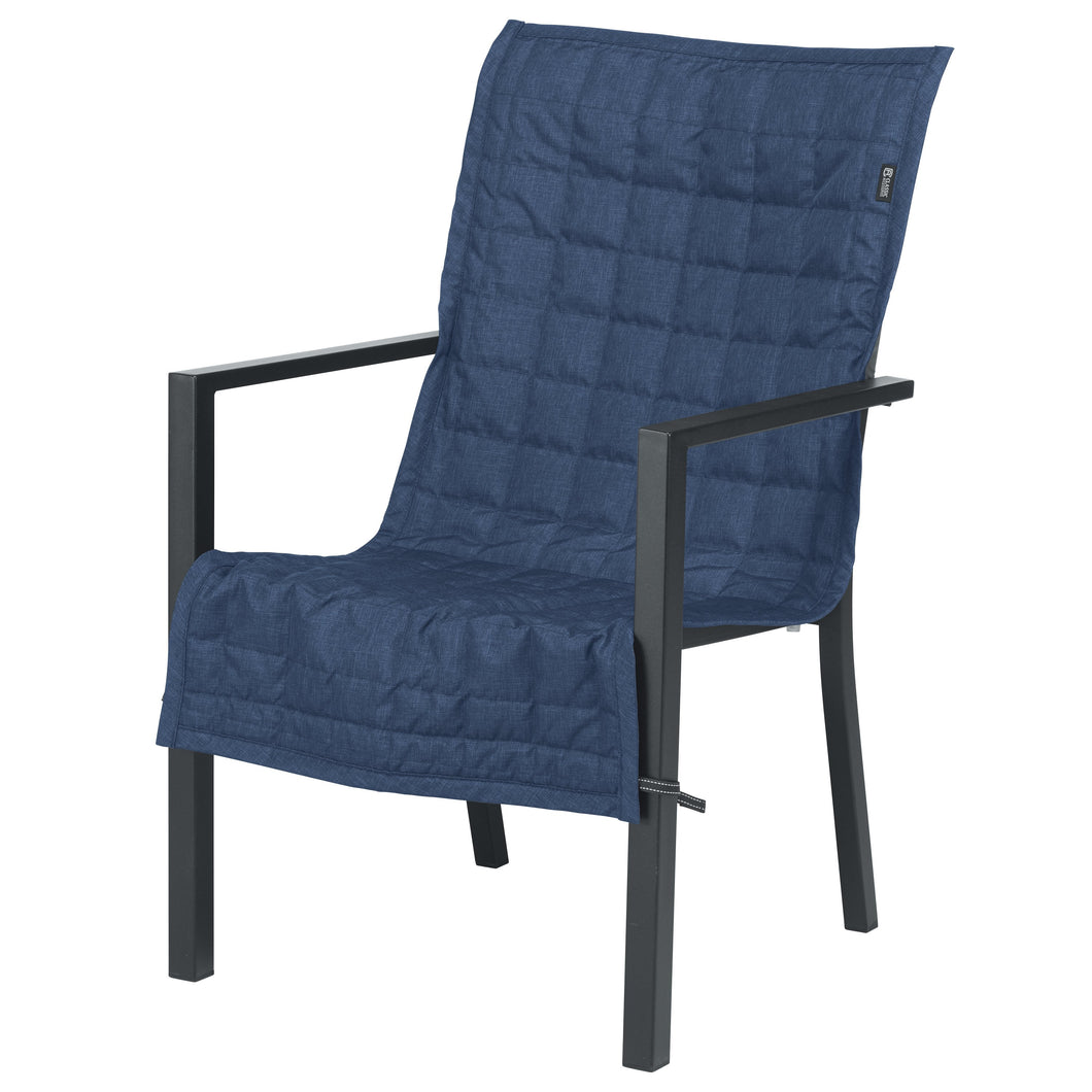 Classic Accessories Montlake Water Resistant 45 Inch Patio Chair Slip Cover Heather Indigo