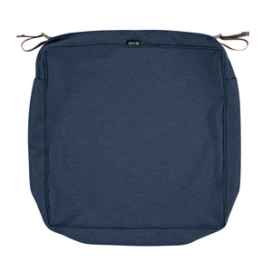 Classic Accessories Montlake Water Resistant 23 23 5 Inch Patio Seat Cushion Slip Cover Heather Indigo Blue