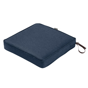 Classic Accessories Montlake Water Resistant 21 21 3 Inch Patio Seat Cushion Heather Indigo Blue