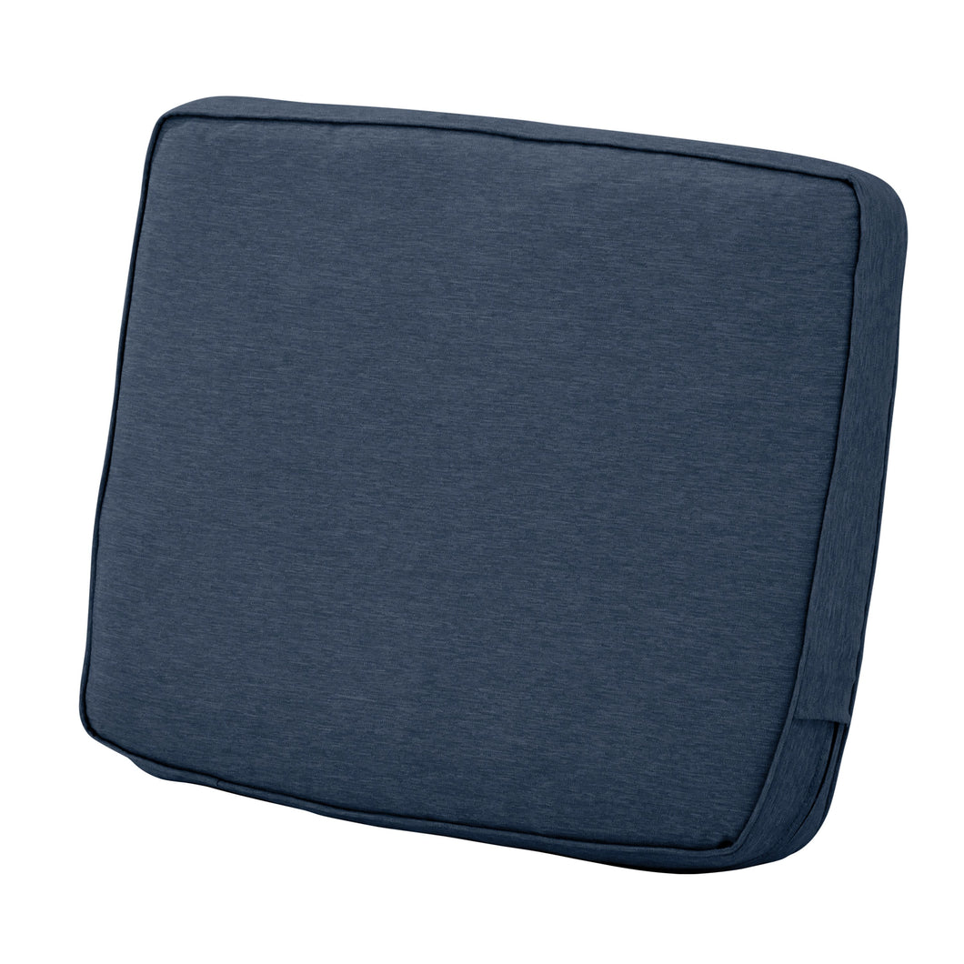 Classic Accessories Montlake Water Resistant 19 x 20 x 4 Inch Patio Lounge Back Cushion Heather Indigo Blue