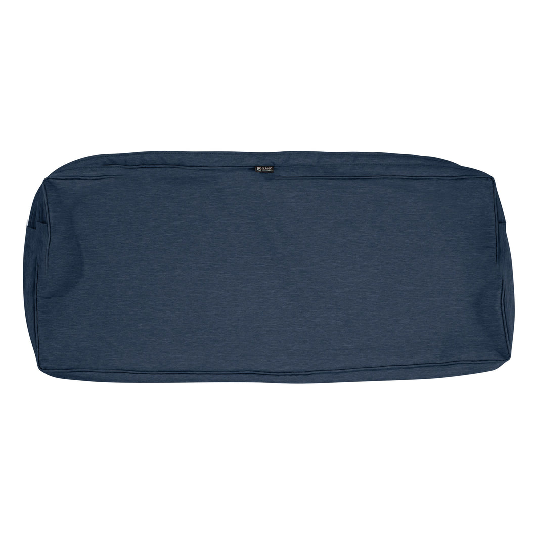 Classic Accessories Montlake Water Resistant 54 18 3 Inch Patio Bench Settee Cushion Slip Cover Heather Indigo Blue