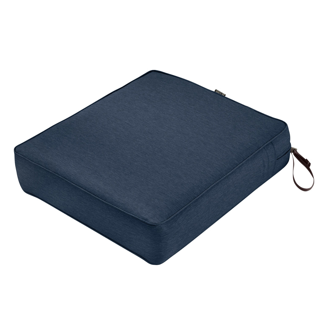 Classic Accessories Montlake Water Resistant 21 19 5 Inch Patio Seat Cushion Heather Indigo Blue