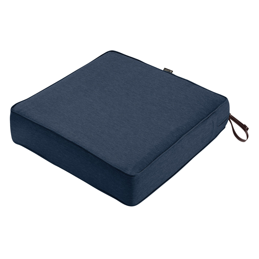 Classic Accessories Montlake Water Resistant 21 21 5 Inch Patio Seat Cushion Heather Indigo Blue