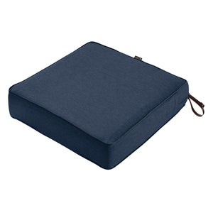 Classic Accessories Montlake Water Resistant 23 23 5 Inch Patio Seat Cushion Heather Indigo Blue