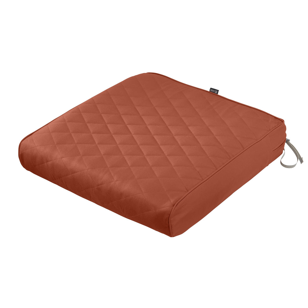 Classic Accessories Montlake Water Resistant 25 25 5 Inch Square Patio Quilted Lounge Cushion Spice