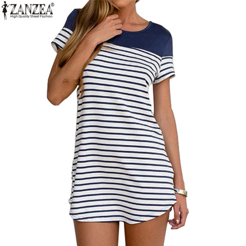 Summer New Fashion Women Mini Dress 2016 Female Sexy O Neck Short Sleeve Striped Shirt Dresses Beach Casual Vestidos Long Blouse