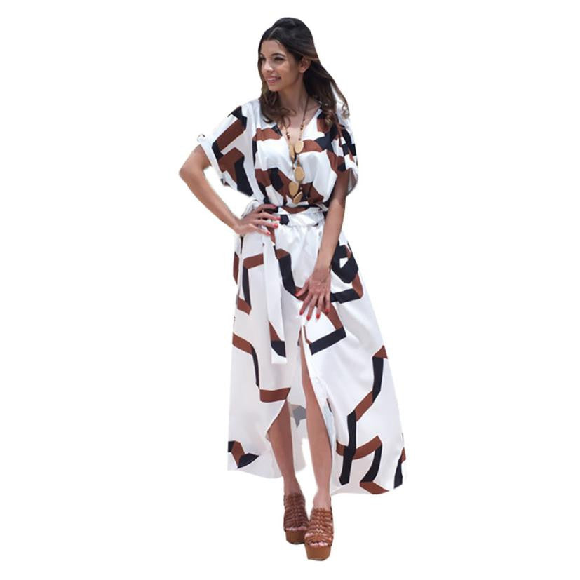 Fashion Women's Dress Bohemian Short Sleeve V neck Geometry Long Beach Wrap Maxi Dresses #LYW