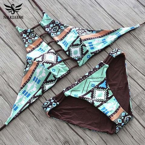 NAKIAEOI 2017 Sexy High Neck Bikini Women Swimsuit Swimwear Cut Out Retro Push Up Bikini Set Printed Summer Beach Bathing Suit