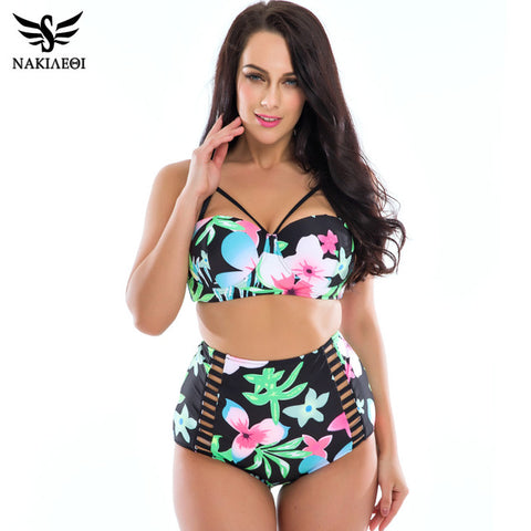 NAKIAEOI Plus Size Swimwear Women Bikinis 2017 Print Underwire Retro High Waist Swimsuit Large Beach Bathing Suits Swim Wear 3XL