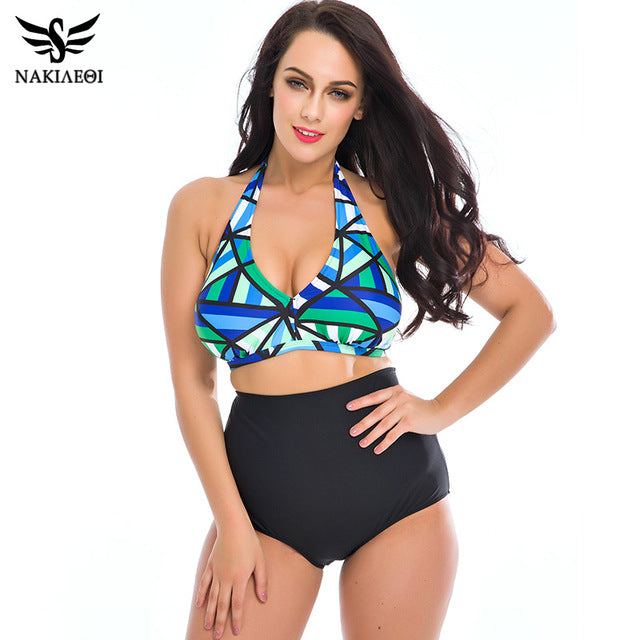 NAKIAEOI Plus Size Bikini Women Swimwear 2017 Summer Beach Bathing Suits Push Up Bikini Set High Waisted Swimsuit Swimming Suits