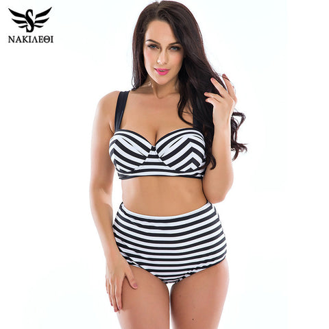 NAKIAEOI 2017 New Bikinis High Waist Swimsuit Women Plus Size Swimwear Female Vintage Retro Beach Wear Push Up Bikini Set 3XL