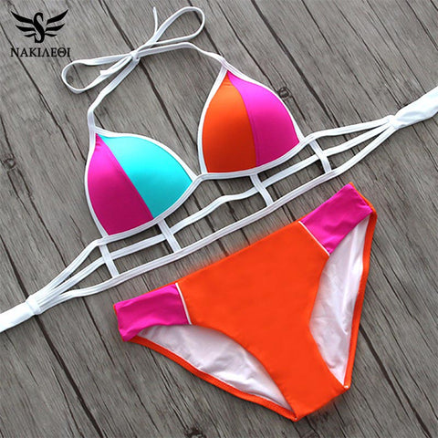 NAKIAEOI 2017 Sexy Bikinis Swimwear Bandage Push Up Bikini Set Patchwork Halter Wrap Women Swimsuit Cut Out Beach Bathing Suit